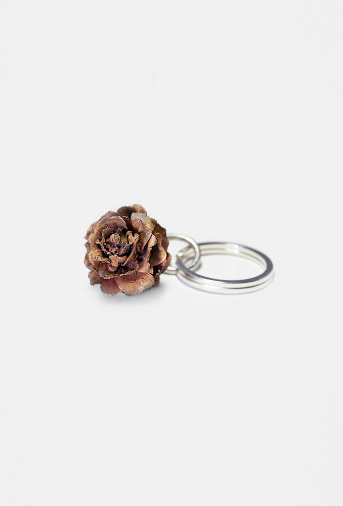 Delicate pine cone keyring